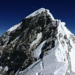 This is a picture of the famous Hillary Step, a treacherous section of the climb close to the summit of Mount Everest.