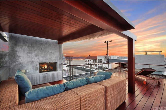 Rooftop deck with fireplace