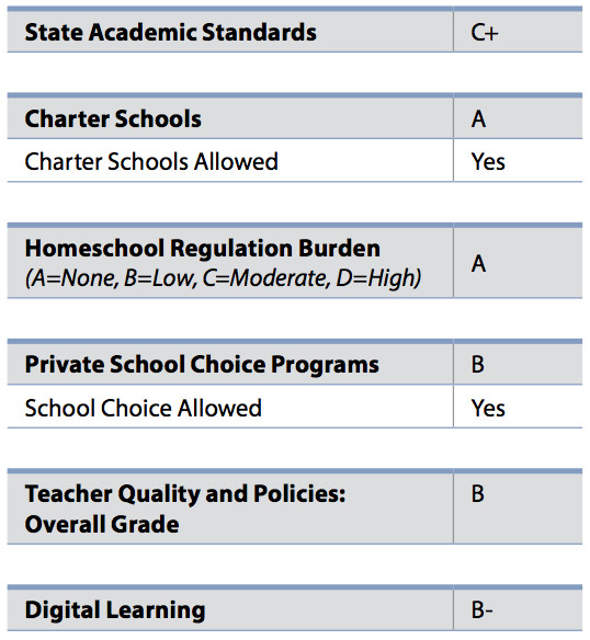 The breakdown of Indiana's grade from ALEC's 2017 Report Card on American Education.