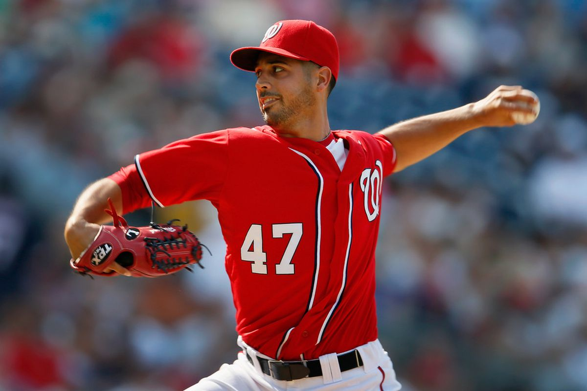 WASHINGTON, DC - JULY 07: Starting pitcher Gio Gonzalez #47 of the Washington Nationals throws to a Colorado Rockies batter during the first inning at Nationals Park on July 7, 2012 in Washington, DC.  (Photo by Rob Carr/Getty Images)