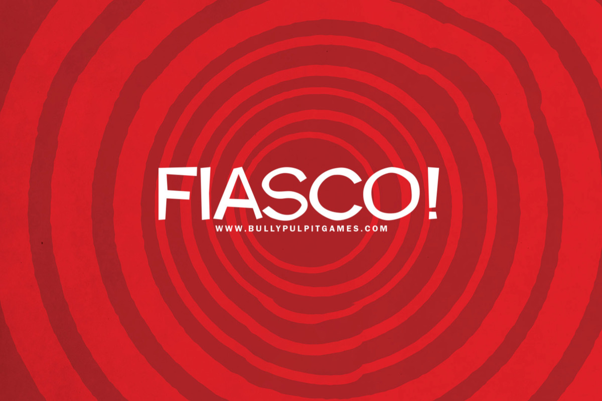 A bullseye image with the words FIASCO! in the middle and www.bullypulpitgames.com underneath.