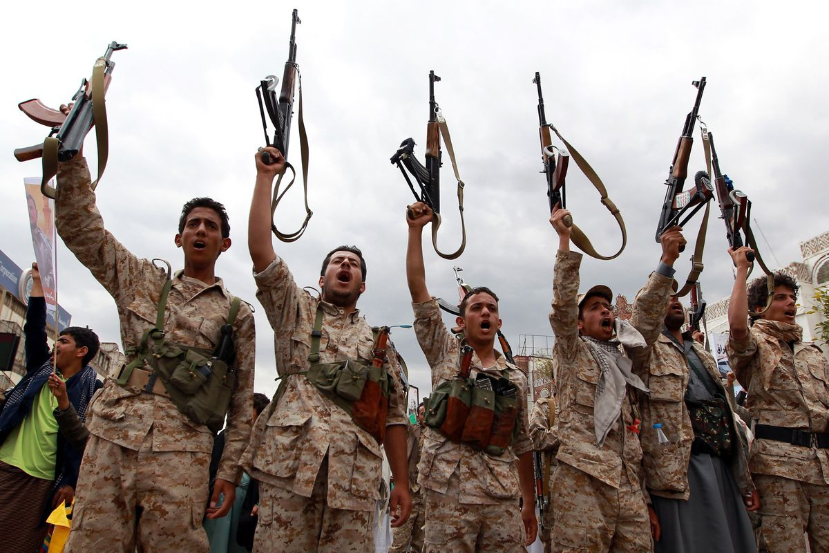 Pro-Houthi fighters in Sanaa on March 26, 2015.