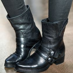 """<b>Holly Cann – Operations Manager</b> is wearing Miu Miu boots, Hudson waxed denim skinny jeans, and a Zara linen tank.  <br> <b>Which trend do you really like, and which would you never be caught dead trying?</b>  """"I have a love hate relationship wit"""