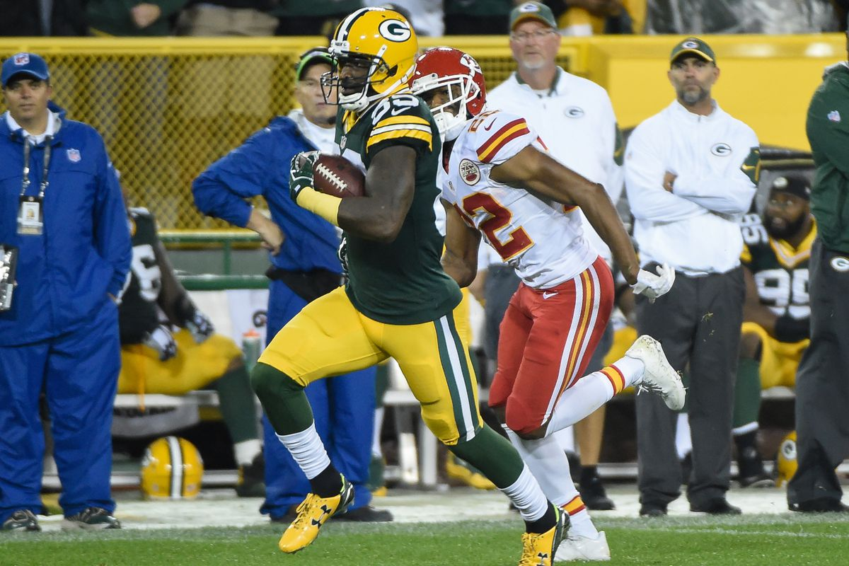 Packers wide receiver James Jones leads the NFL in receiving touchdowns.