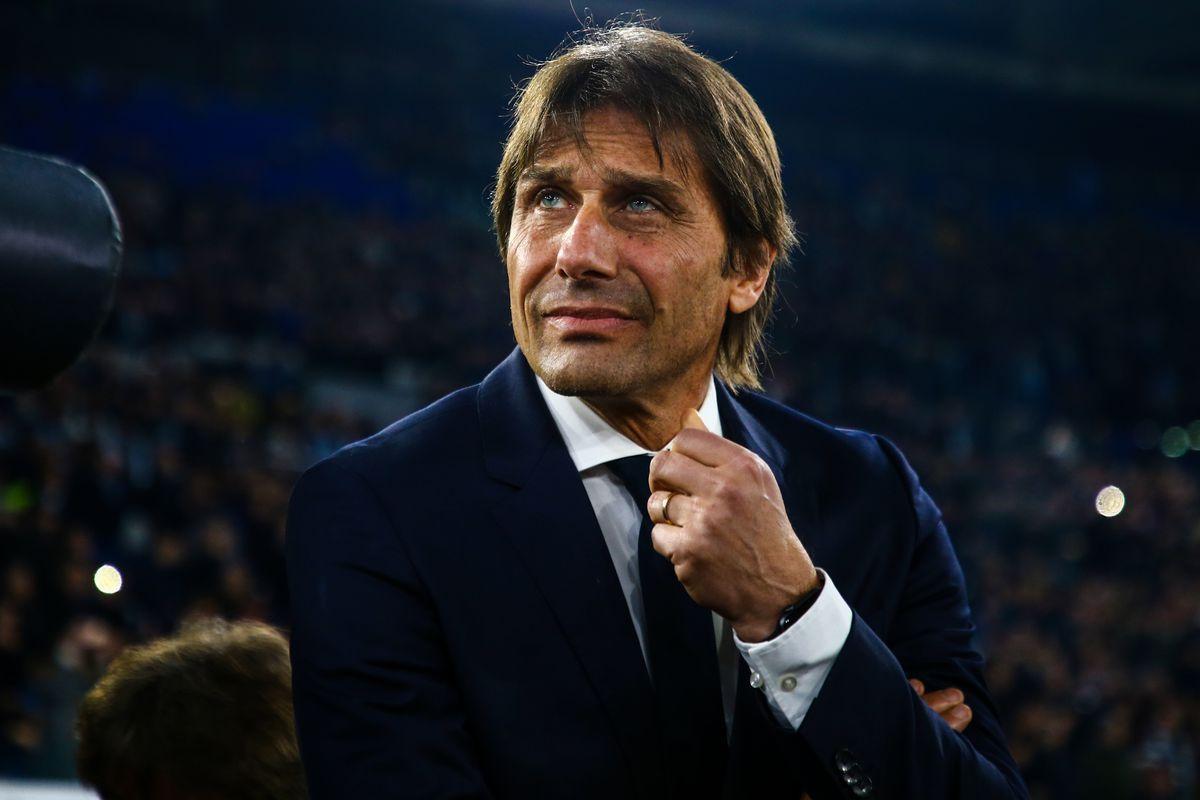 Inter Milan's Italian coach Antonio Conte looks on during...