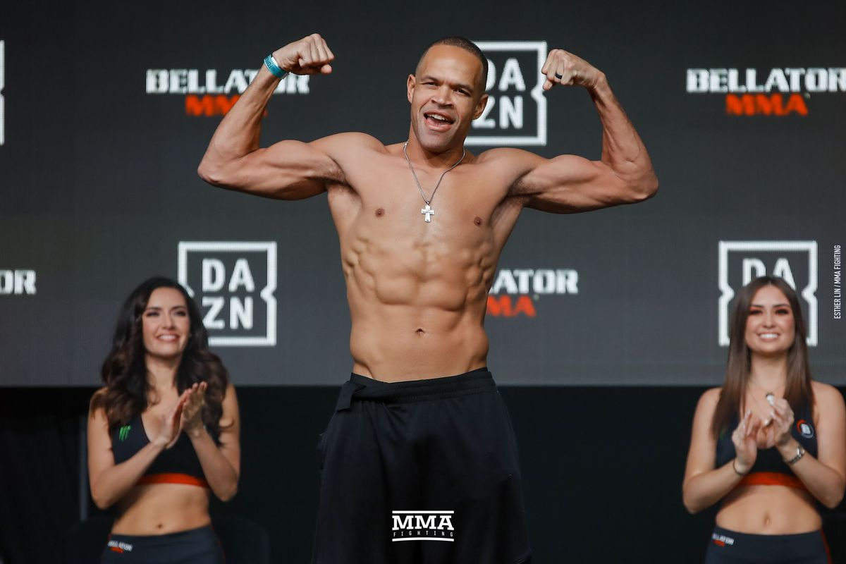 Raymond Daniels posing at a Bellator MMA weigh in