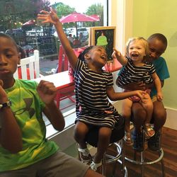 The Oden siblings chilling at an ice cream parlor: Elijah, Gabbi, Annabelle and Kentrell.