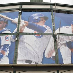 Player banners on the north side of the marquee -