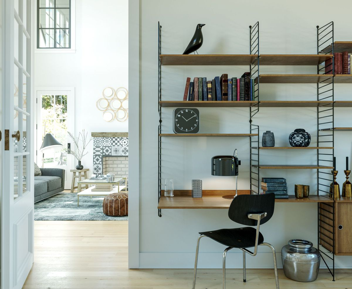 A white room with a lot of shelving.