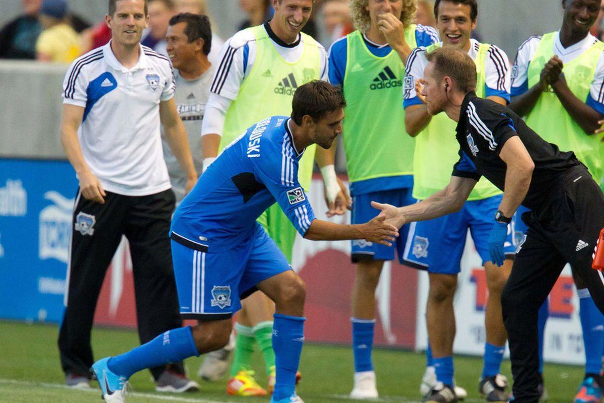 A scene no Real Salt Lake fan wants to see again as Chris Wondolowski celebrates a game winning goal against RSL Mandatory Credit: Russ Isabella-US PRESSWIRE