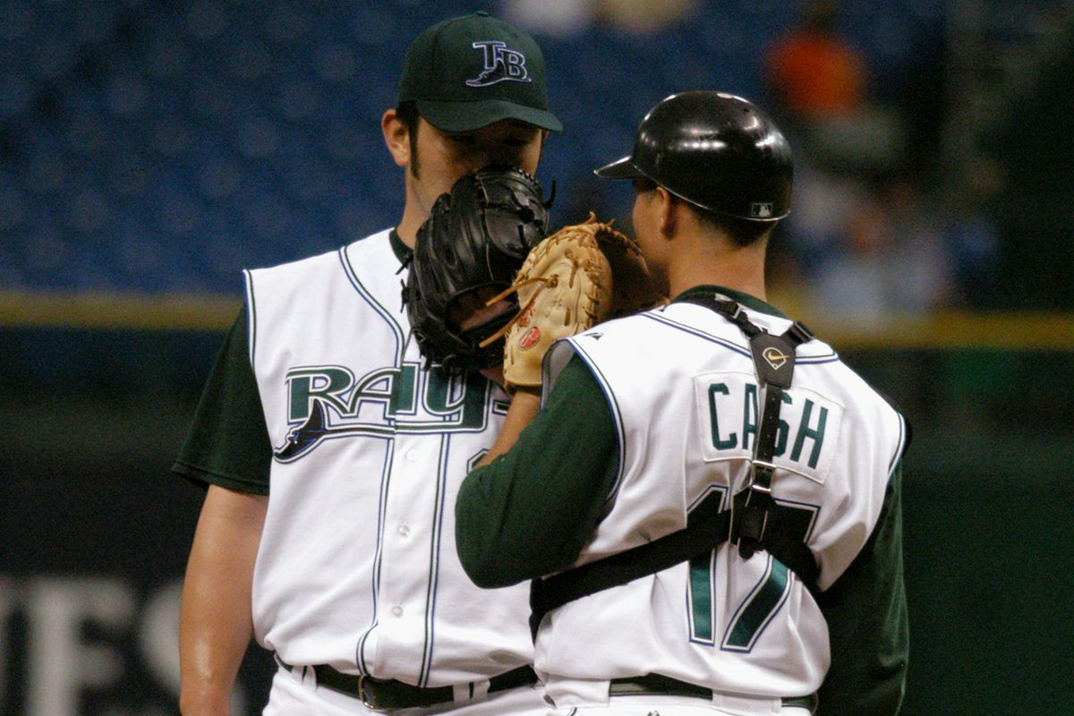 Extra points if you identify the pitcher behind the mask (glove).