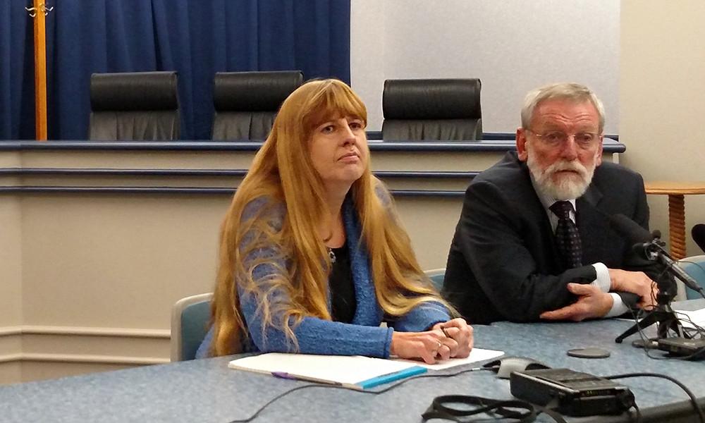 Colorado assessment chief Joyce Zurkowski and interim superintendent Elliott Asp speak to reporters Monday (Eric Gorski/Chalkbeat Colorado)