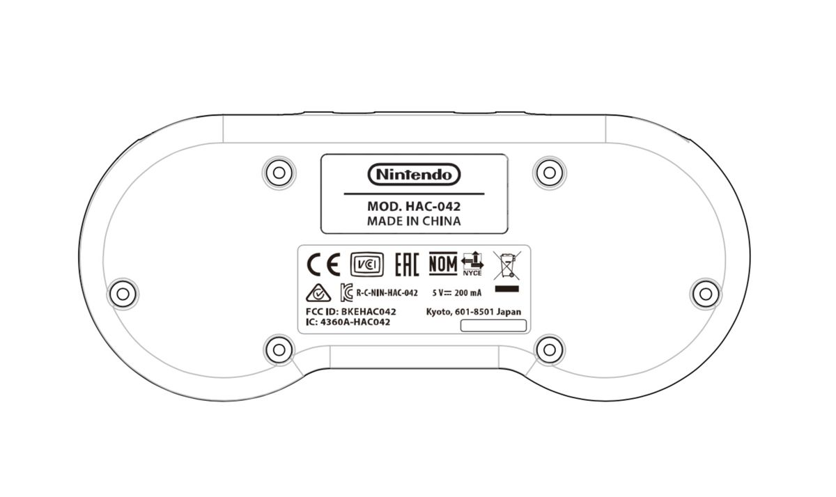 An illustration of a wireless controller, shaped like a SNES gamepad, from an FCC filing