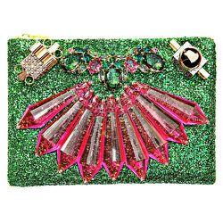 "Mawi emerald green glitter clutch, <a href=""https://cools.com/products/18464?utm_source=linkshare&utm_medium=affiliate&utm_campaign=15&siteID=i.0sejpE9jI-O5VgpnPVB9LsTGeSCYk.5g"">$880</a> at The Bullett Shop (via Cools)"