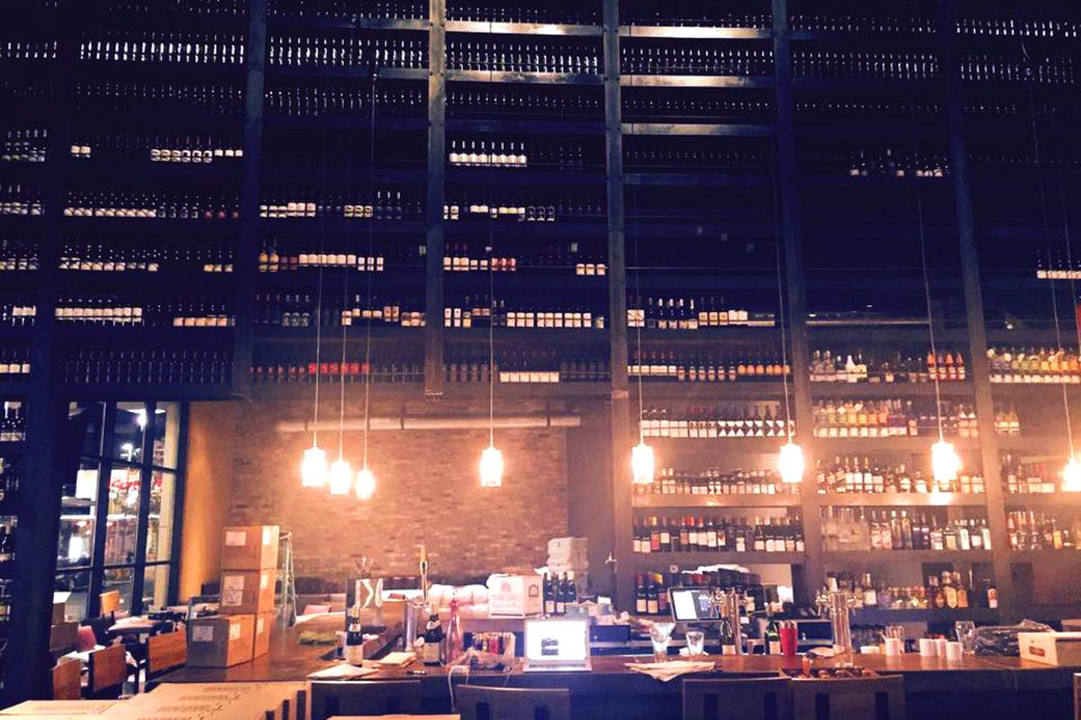 The Grape Street Cafe Two Story Wine Wall