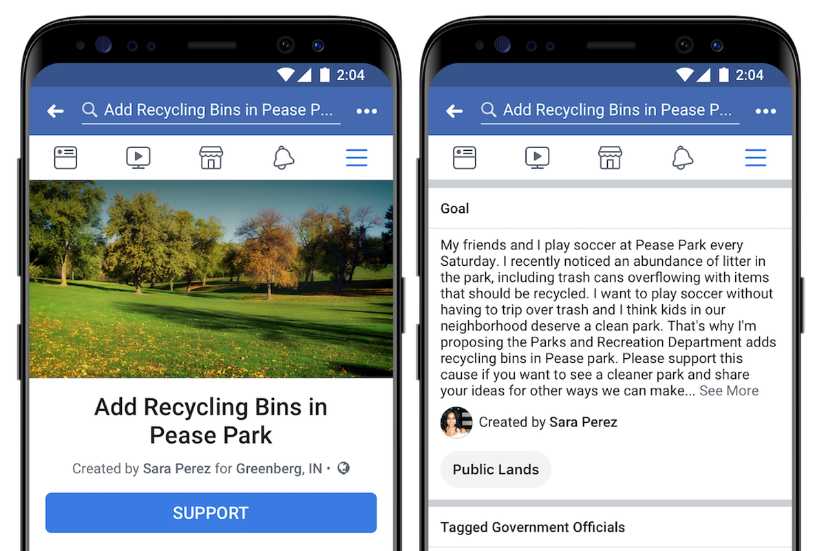 Two mobile phone screens showing Facebook's petition feature.