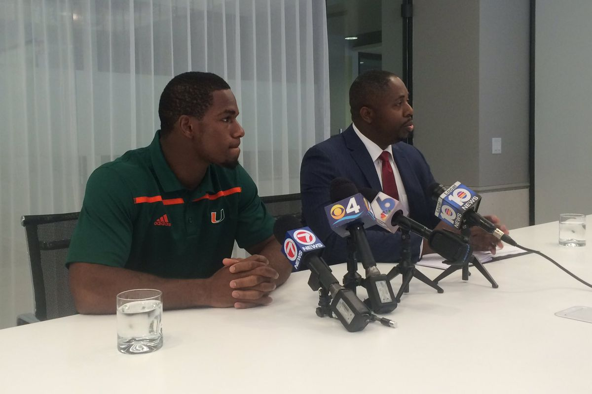RB Mark Walton and his attorney at a press conference on July 13th.