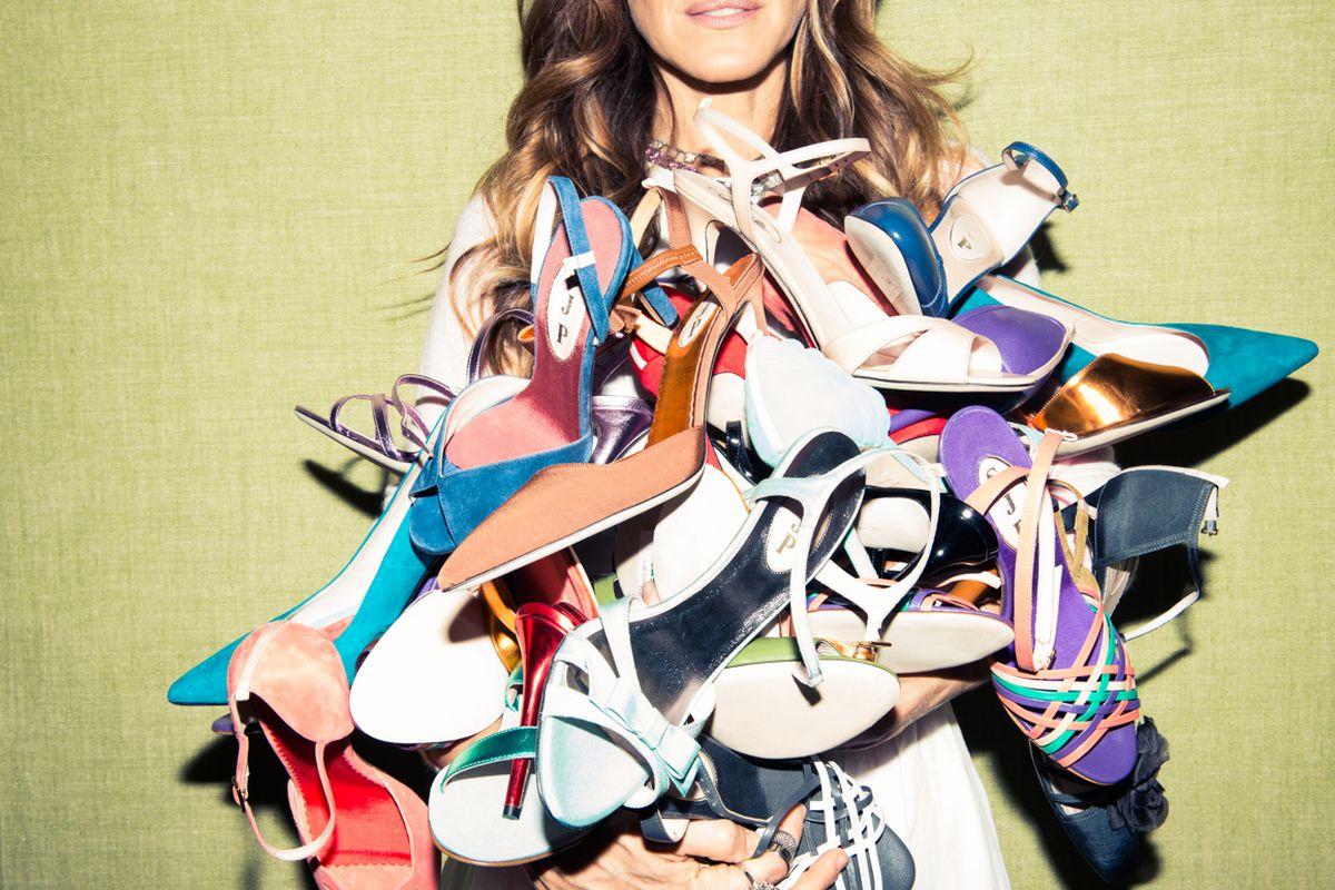 "Sarah Jessica Parker with her SJP heels. Photo via <a href=""http://www.thecoveteur.com/sarah-jessica-parker-gayle-king-adam-glassman/"">The Coveteur</a>."