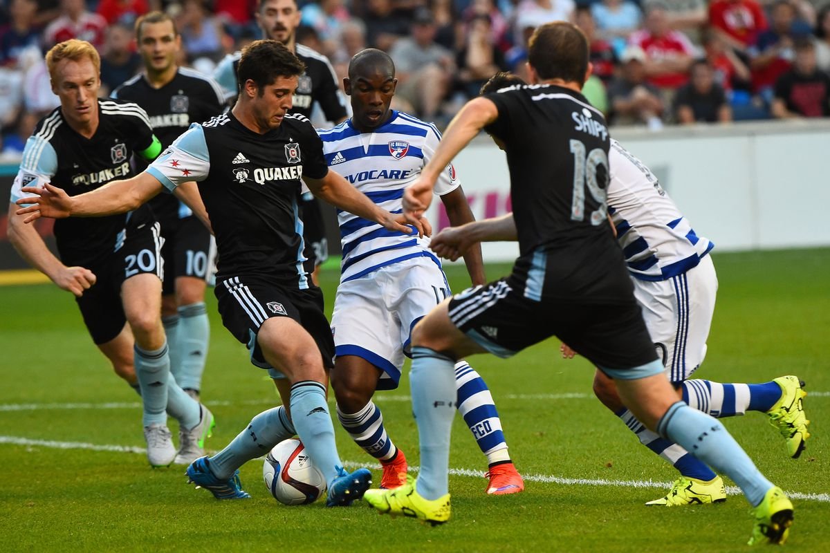 Fabian Castillo (center) gets ground into fine dust as he attempts to enter the area against Polster, Larentowicz & Co.