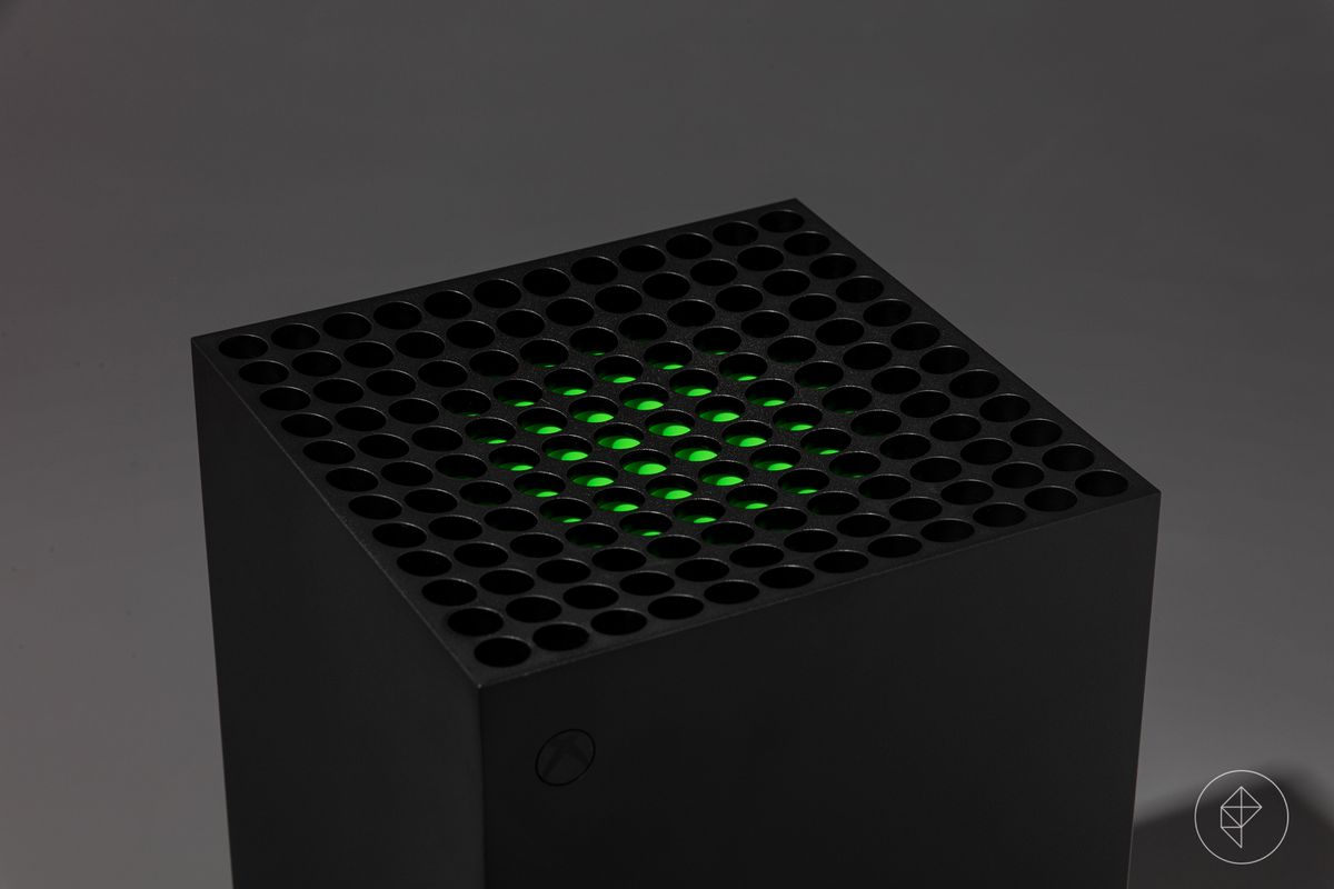 Xbox-X video game console photographed on a dark grey background