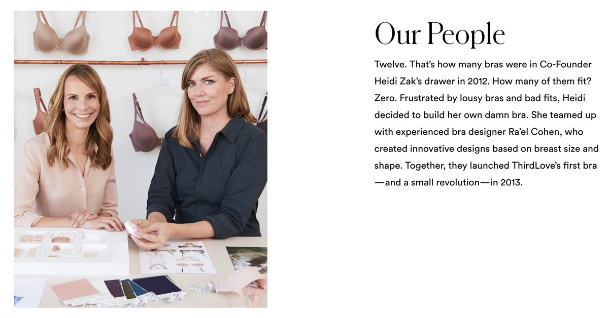 """A screenshot of the ThirdLove """"Our Story"""" page featuring a picture of CEO Heidi Zak and designer Ra'el Cohen against a backdrop of bras plus a block of text describing the origin of the company."""