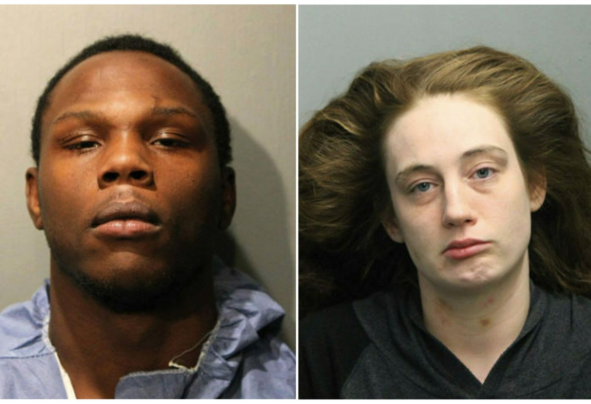 This combination of March 2019 booking photos provided by the Chicago police shows, Dejon Waters, left, and Brittany Hyc.