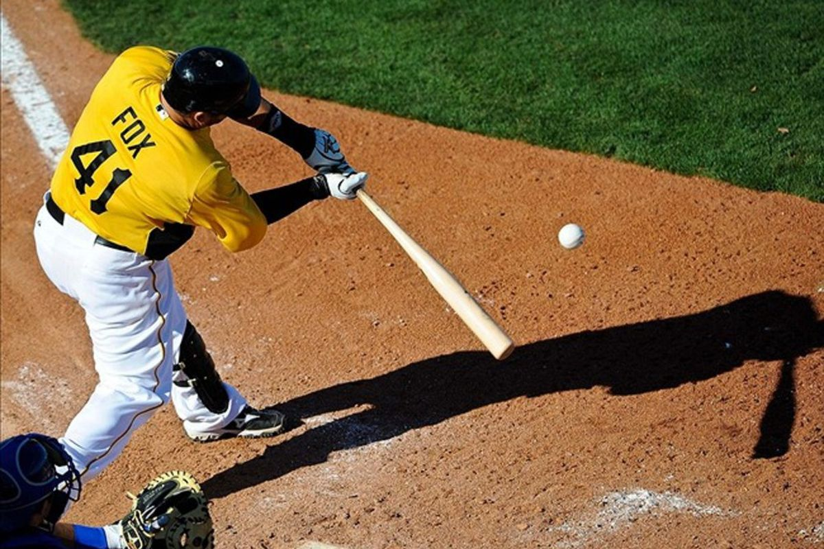 Mar 4, 2012; Bradenton, FL, USA;  Pittsburgh Pirates catcher Jake Fox (41) grounds out to end the game against the Toronto Blue Jays at McKechnie Field. The Blue Jays defeated the Pirates 8-5. Mandatory Credit: Jerome Miron-US PRESSWIRE