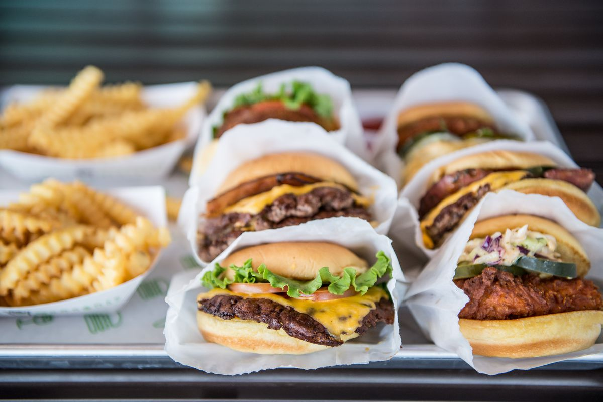 A view of burgers, chicken sandwiches, and crinkle-cut fries from Shake Shack.
