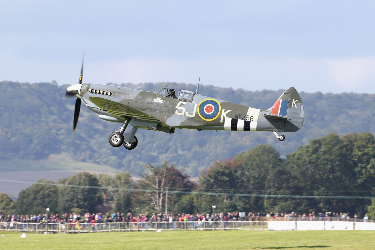 A Spitfire takes off during the Battle of Britain 75th anniversary flypast on September 15, 2015, in Chichester, England.