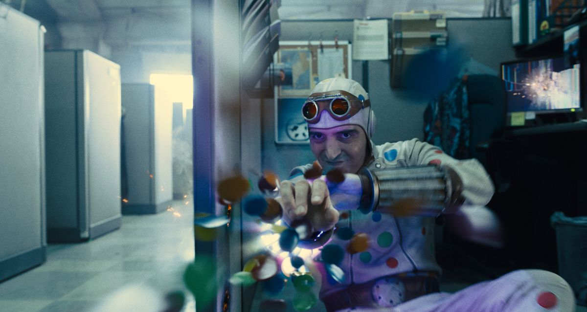 Polka Dot Man fires his polka dots in The Suicide Squad
