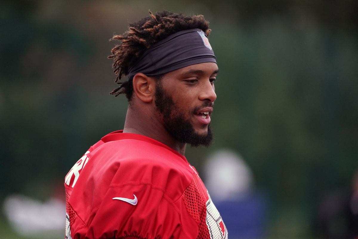 Tampa Bay Buccaneers tight end O.J. Howard during practice at the Blackheath Rugby Club.