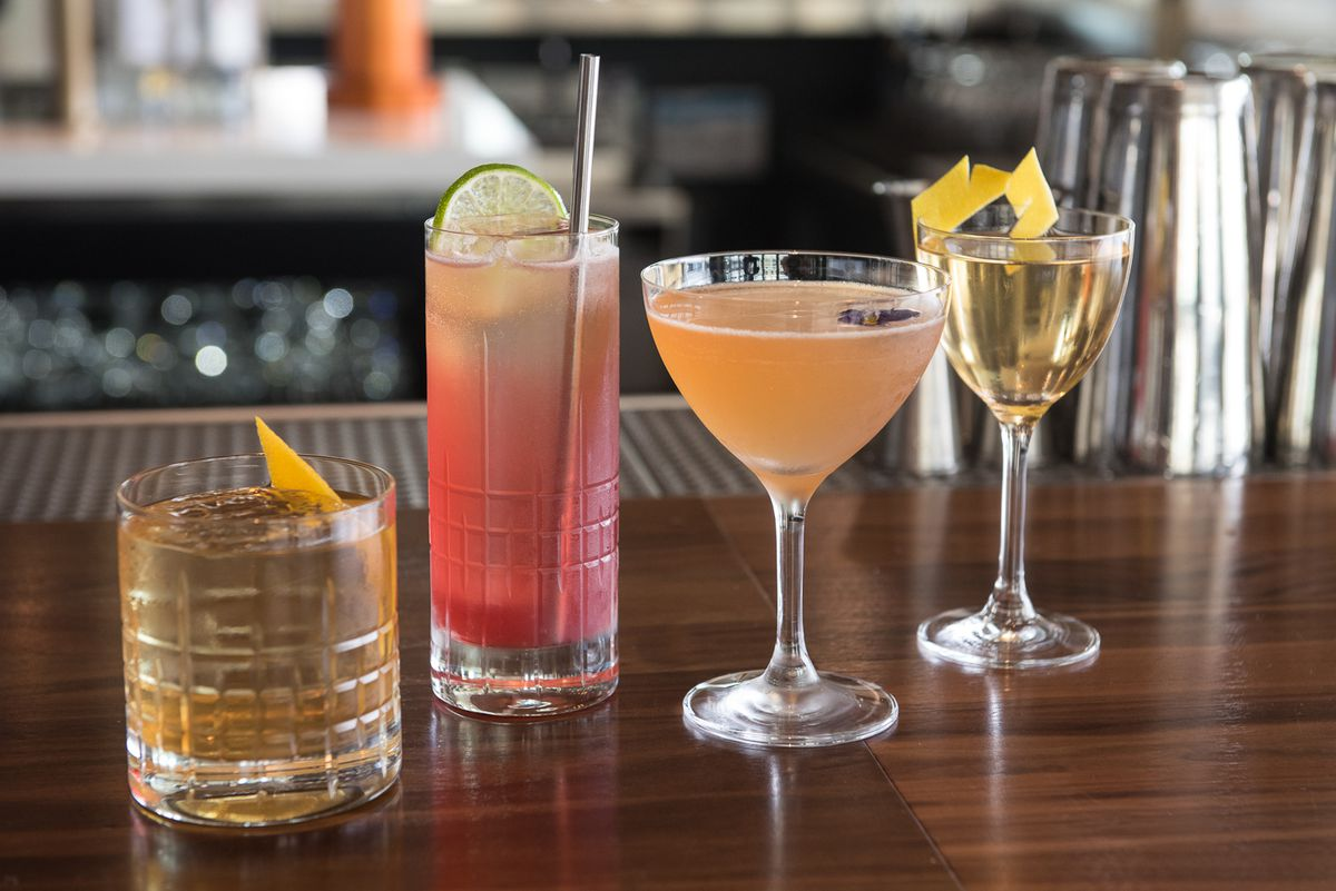 Four cocktails on the bar at Fog Room