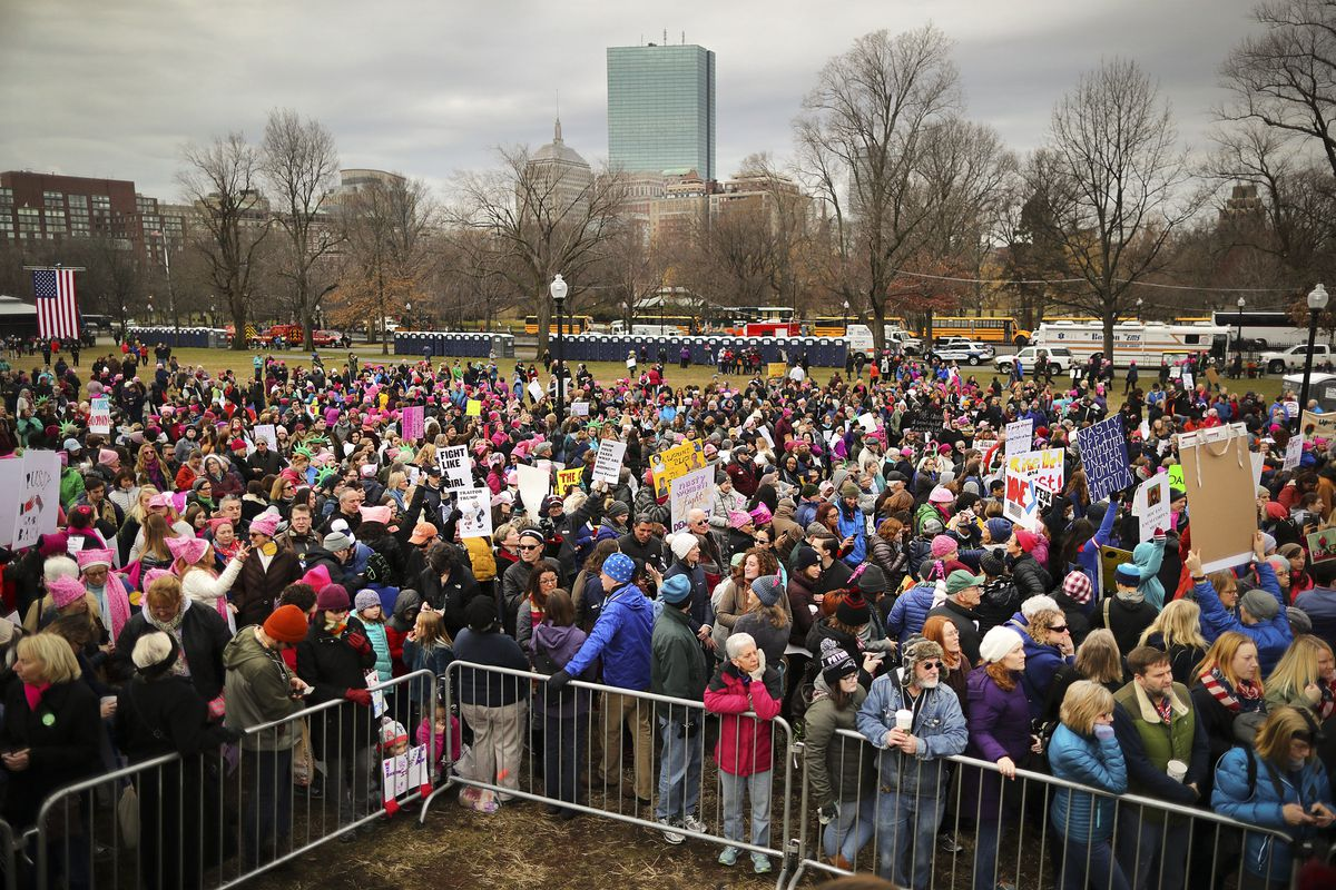 Thousands of people filled Boston Common for the Boston Women's March for America on Saturday, Jan. 21, 2017.