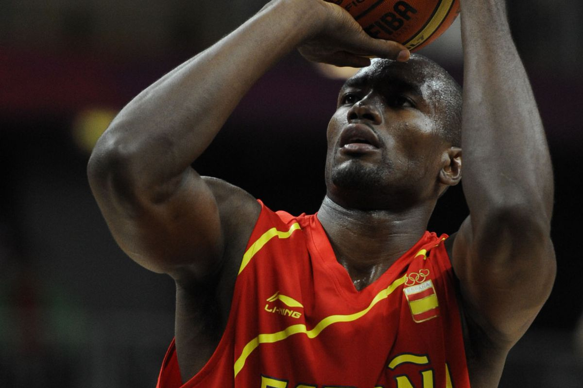 In order to improve his team's ranking, Serge Ibaka no longer just whispers to the ball....he now commands it telepathically.