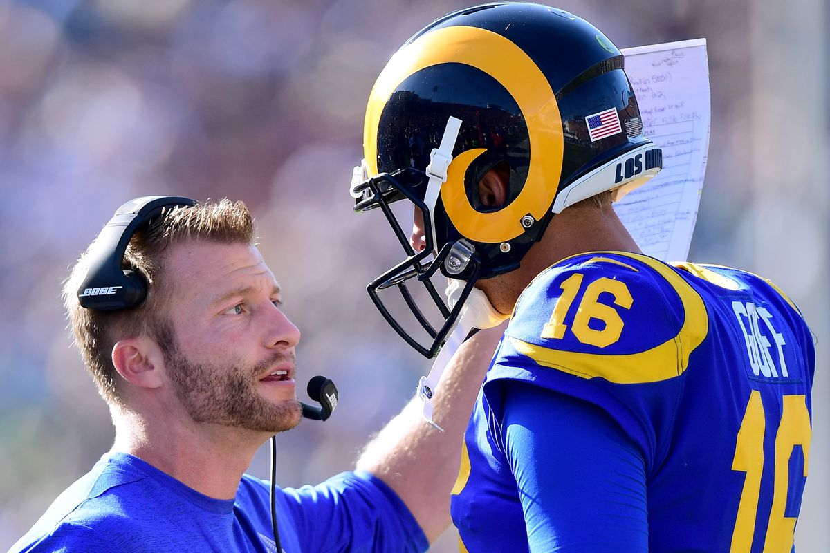 Los Angeles Rams Head Coach Sean McVay and QB Jared Goff talk during the Rams' Week 5 10-16 loss to the Seattle Seahawks at the Los Angeles Memorial Coliseum, October 8, 2017.