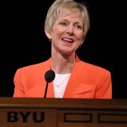 Sister Jean B. Bingham, LDS Church Relief Society general president, speaks at the BYU Women's Conference in the Marriott Center at BYU in Provo on Friday, May 5, 2017.