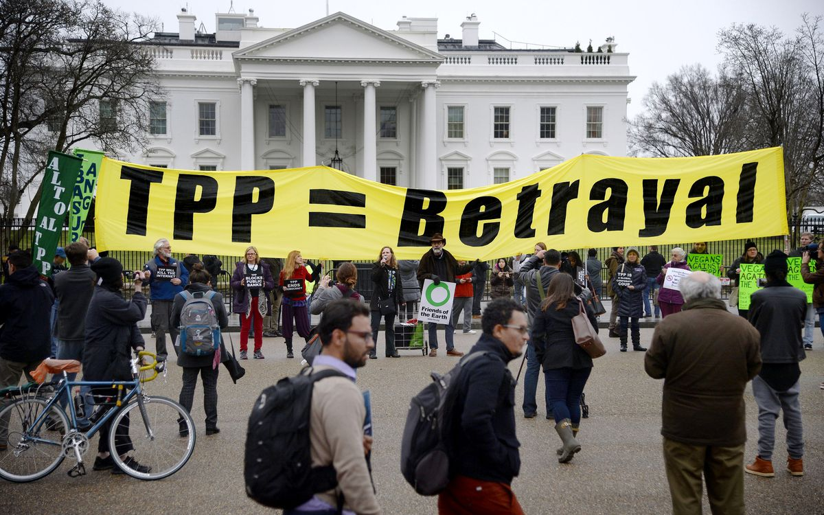 Activists Hold Rally Against The Trans-Pacific Partnership