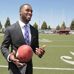 San Francisco 49ers first-round draft pick A.J. Jenkins plays with an NFL football during a news conference at 49ers headquarters in Santa Clara, Calif., Friday, April 27, 2012.