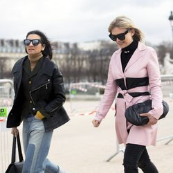 Pink outerwear is still going strong.