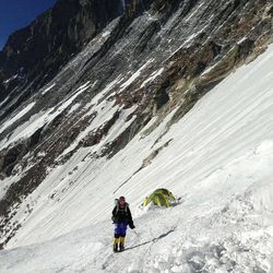 This photo shows David Roskelley arriving at Camp 3 on the Lhotse Face.