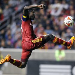 Real Salt Lake forward Olmes Garcia (13) kicks the ball during a game at Rio Tinto Stadium in Sandy on Saturday, March 29, 2014.