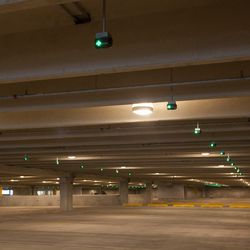 Before the cars: peer inside the massive parking structure. Total parking spaces: 2,020.