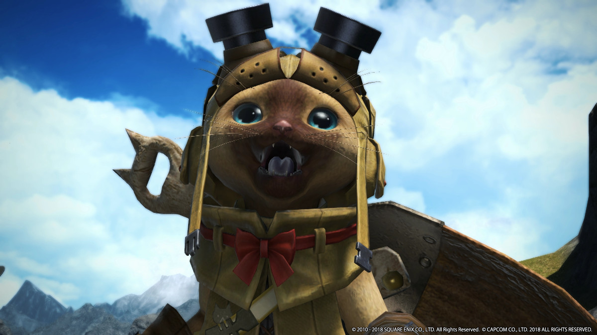 A palico from Monster Hunter: World in Final Fantasy 14.
