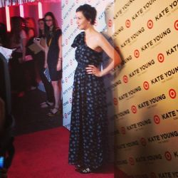 "The black star print dress ($89.99) on Maggie. Image via <a href=""http://instagram.com/p/X6BaUpssrQ/"">PopSugarFashion</a>/Instagram."