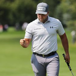 Daniel Summerhays celebrates a putt during the final round of the Utah Open in Provo on Sunday, Aug. 22, 2021. Summeryhays finished tied for third.