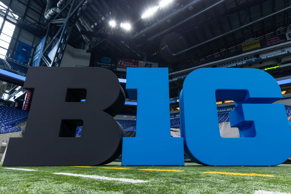 The Big Ten Conference logo is seen on the field during the Big Ten Football Media Days at Lucas Oil Stadium on July 22, 2021 in Indianapolis, Indiana.