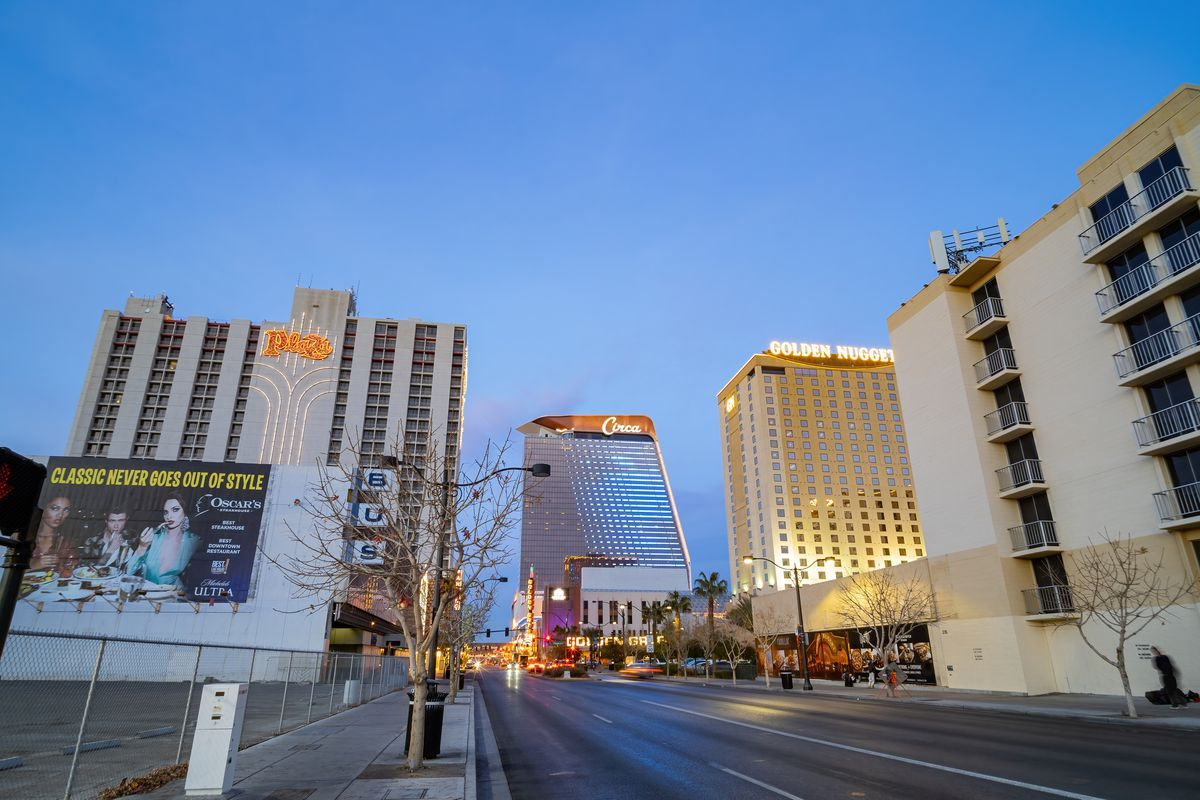 Twilight view of the Plaza, Golden Nugget, and Circa near the Fremont Street Experience from January 12, 2021