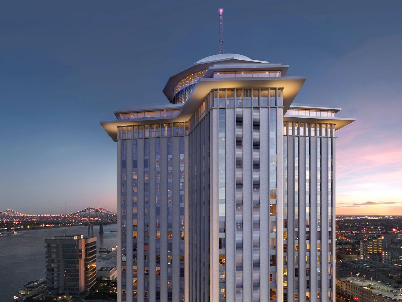 A rendering of the outside of the top floors of the World Trade Center in New Orleans includes a sunset skyline of the Mississippi River and the city below it.