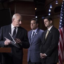 """Homeland Security Secretary John Kelly, left, finishes a statement on immigration and sanctuary cities as he joins, from left, Rep. Raul Labrador, R-Idaho, chairman of the House Judiciary Subcommittee on Immigration, House Speaker Paul Ryan, R-Wis., Rep. Doug Collins, R-Ga., and House Judiciary Committee Chairman Bob Goodlatte, R-Va., during a news conference at the Capitol in Washington, Thursday, June 29, 2017. The Republican-led House pushes ahead on legislation to crack down on illegal immigration. One bill would strip federal funds from """"sanctuary"""" cities that shield residents from federal immigration authorities, while a separate bill would stiffen punishments on people who re-enter the U.S. Illegally."""