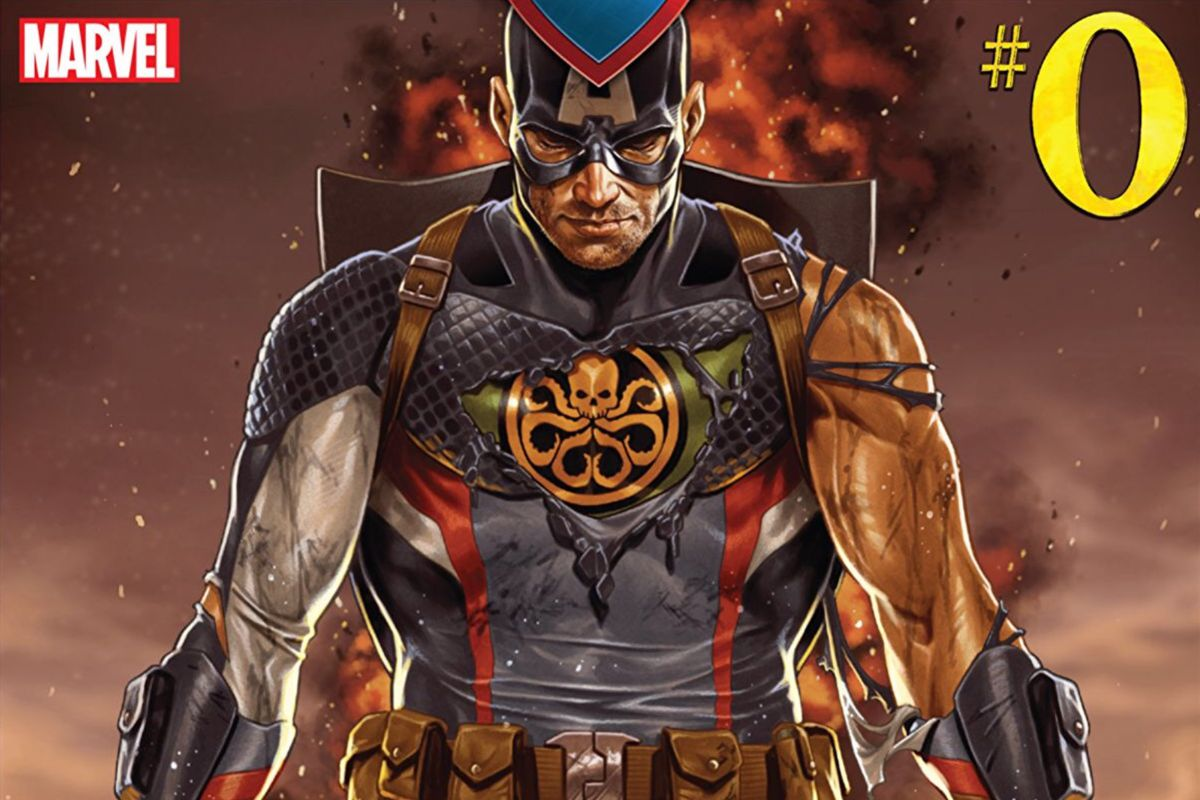 Captain America, his classic uniform torn away to reveal a Hydra one, on the cover of Secret Empire #0